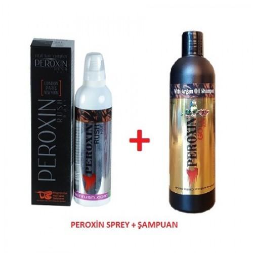 Peroxin Rush Saç Bakım Spreyi 250 ml + Peroxin Gold Şapuan 330 ml Set